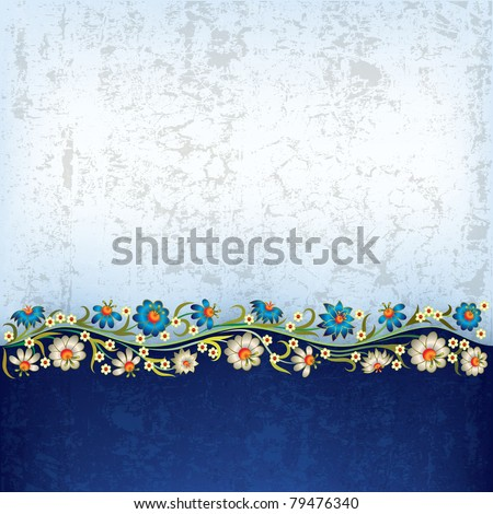 abstract grunge white blue background with floral ornament - stock vector