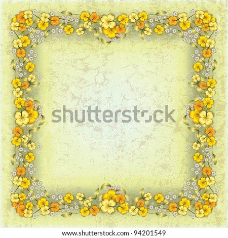 abstract grunge yellow background with spring flowers - stock vector