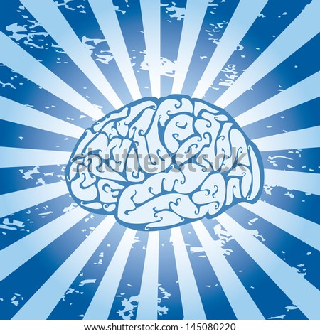 Abstract grungy background with a brain icon. - stock vector