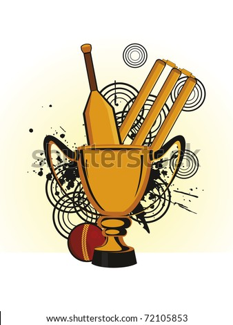 abstract grungy background with cricket supplies, vector illustration - stock vector