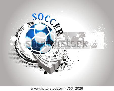 abstract grungy background with isolated blue soccer, illustration - stock vector