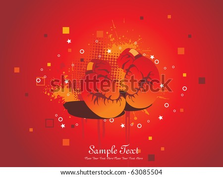 abstract grungy background with isolated boxing gloves - stock vector