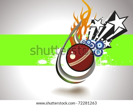 abstract grungy background with isolated fiery cricket ball - stock vector