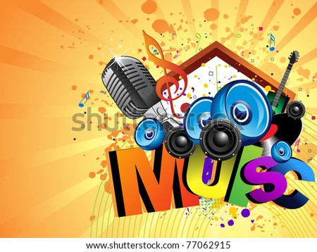 abstract grungy background with musical instrument, vector illustration - stock vector