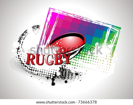 abstract grungy background with rugby ball, vector sport illustration - stock vector