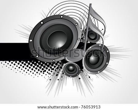 abstract grungy background with vinyl, musical note