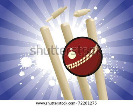 abstract grungy blue rays background with cricket element - stock vector