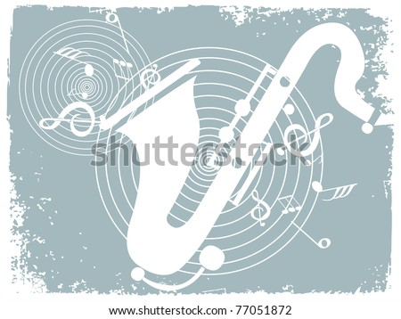 abstract grungy border, musical notes background with saxophone - stock vector