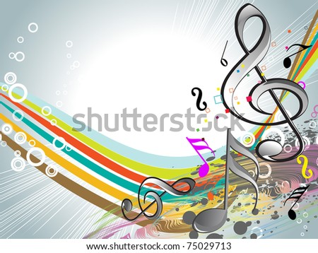 abstract grungy, colorful design background with musical notes - stock vector