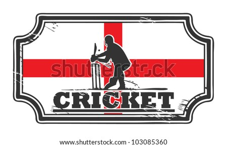 Abstract grungy cricket stamp with England flag, vector illustration - stock vector
