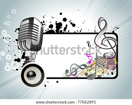 abstract grungy musical notes background with mike and vinyl - stock vector