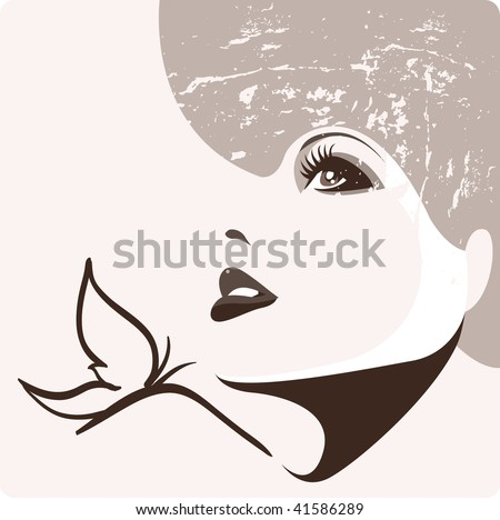 Abstract grungy portrait - stock vector
