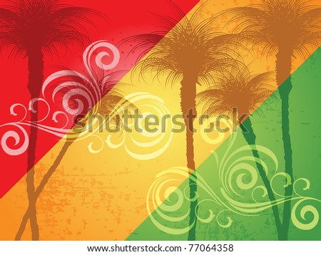 abstract grungy summer tree background, vector illustration - stock vector