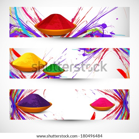 abstract gulal background colorful holi festival header and banner set design