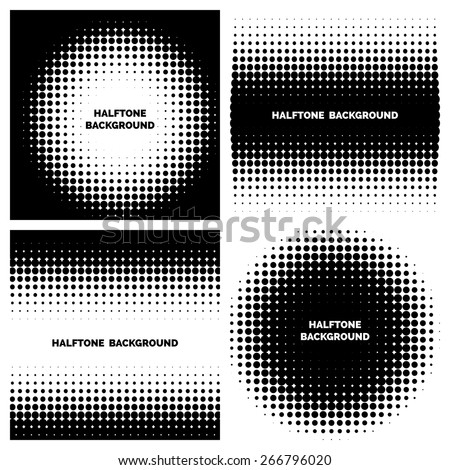Abstract halftone backgrounds with text. Dot graphic monochrome. Vector illustration - stock vector