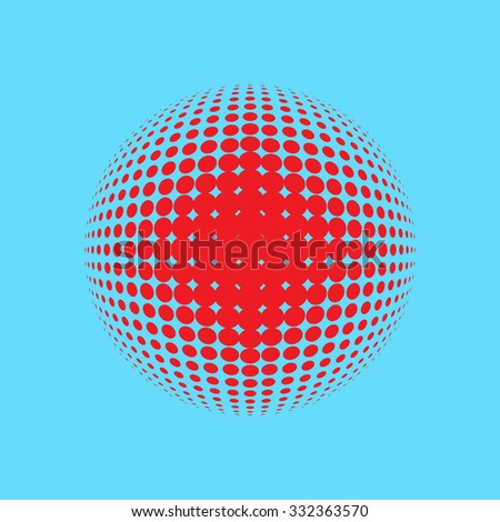 Abstract halftone circle design. Colorful round icon, abstract globe symbol, business concept. Abstract colorful dotted sphere. Science and tourism, technology or environmental background - stock vector
