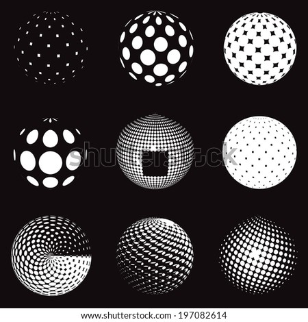 Abstract halftone circle design, set background