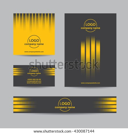 Abstract halftone corporate set of business card, cover, and banner. Vector yellow and black background for company branding with dots. - stock vector