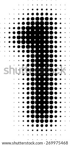 Abstract Halftone Dotted Number. Vector Illustration. Grunge Numeral. Blurred Number. Pixel Number. - stock vector