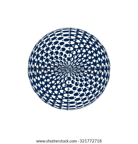 Abstract halftone element. White and blue. Globe