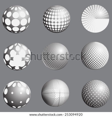 Abstract halftone globe design, stock vector illustration latex