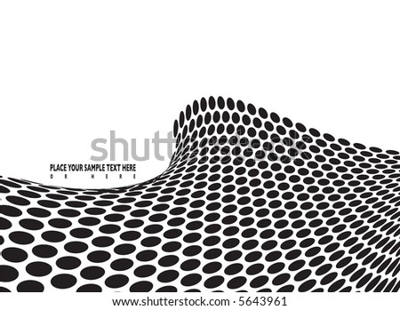 abstract halftone wave in black and white with room to add your own text - stock vector