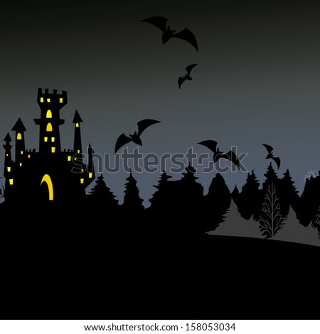 abstract halloween background with different terror objects