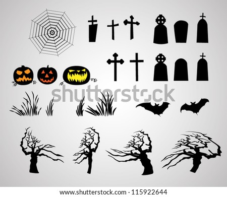abstract halloween pumpkins tombstones bats creepy trees and web - stock vector