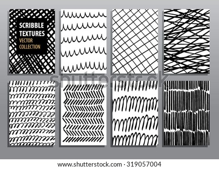 Abstract hand drawing textures. Vector illustration set. - stock vector