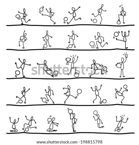abstract hand drawing vector cartoon soccer sets - stock vector