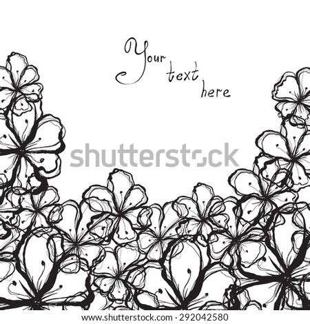 Abstract hand-drawn background of stylized flowers in black and white colors - stock vector