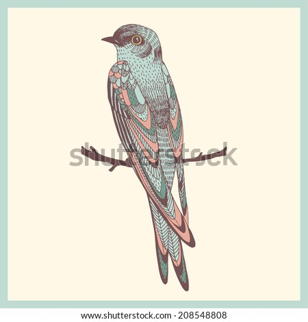 abstract hand drawn bird swallow - stock vector