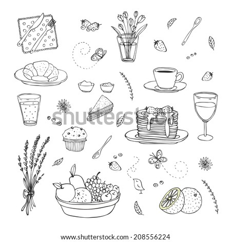 abstract hand drawn breakfast set - stock vector