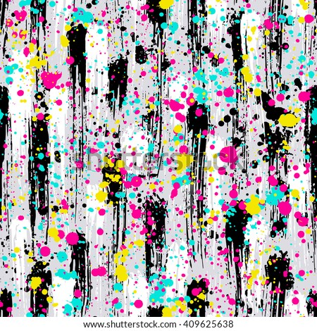 Abstract hand drawn brush strokes and paint splashes textures, seamless pattern - stock vector