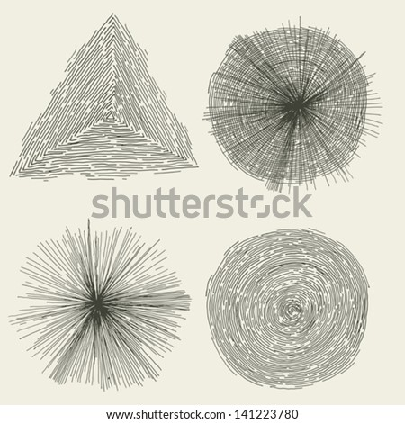 Abstract Hand Drawn Circles, Splashes And Shapes/ Illustration of a set of hand drawn abstract geometric shapes with circle, splashes, cracked hole, sunbeams and triangle - stock vector