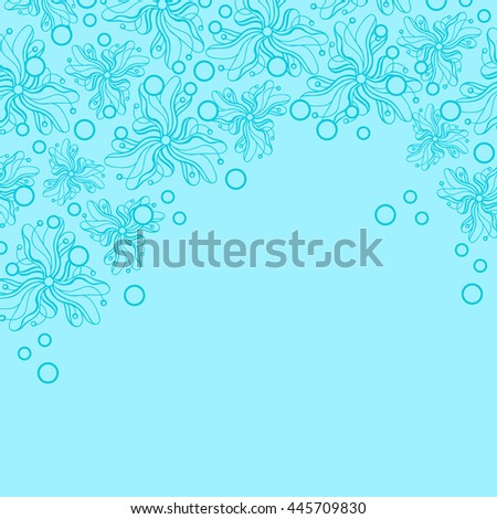 Abstract hand-drawn creative background of stylized flowers in light cyan and bright turquoise colors. Vector illustration.