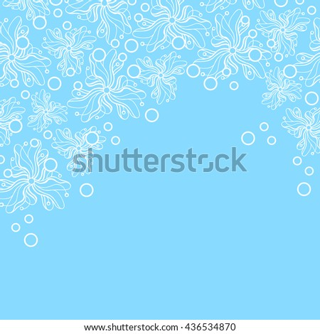 Abstract hand-drawn creative background of stylized flowers in pale cyan and white colors. Vector illustration.