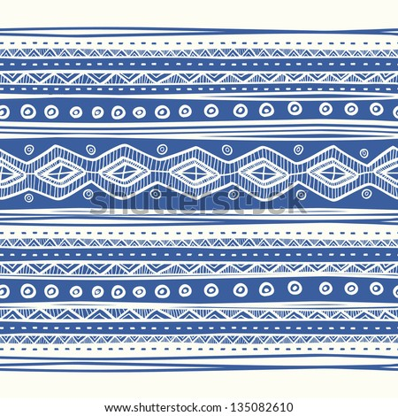 Abstract hand-drawn ethnic pattern, tribal background. Vector pattern. - stock vector