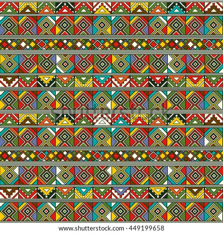 Abstract hand-drawn ethno pattern, tribal background. - stock vector