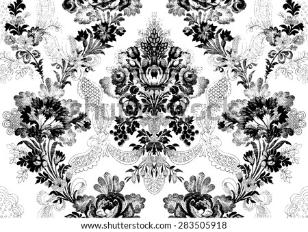 Abstract hand-drawn floral seamless pattern, Victorian vintage background. Floral print  for wallpaper, textile, pattern fills, web page background, surface textures, packaging, and invitations - stock vector