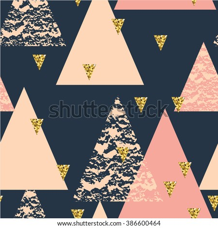 Abstract hand drawn geometric seamless repeat pattern with glitter texture. - stock vector