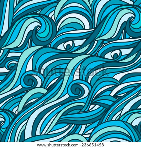 Abstract hand-drawn pattern, blue waves background. Seamless pattern. Vector illustration that can be copied without any seams. - stock vector