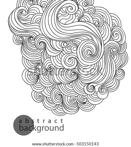 Abstract hand-drawn pattern, waves background. Template Vector.