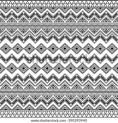 Abstract Hand Drawn Seamless Pattern Boho Chic Style Wallpaper With Ethnic Aztec Elements Black