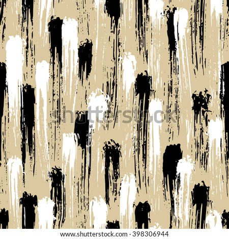 Abstract hand drawn seamless pattern, brush strokes texture - stock vector