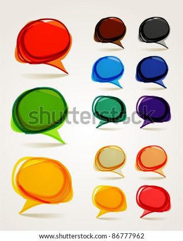 Abstract hand-drawn talking bubbles set - stock vector