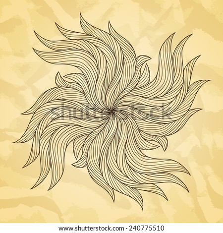 Abstract hand drawn vector illustration. Old paper texture.
