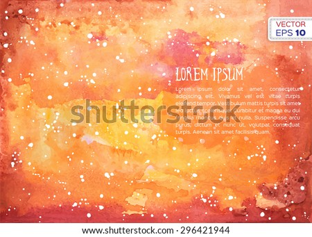Abstract hand drawn watercolor background. Vector illustration. - stock vector