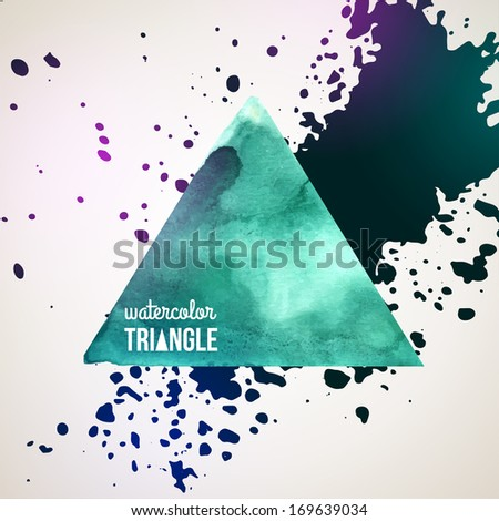 Abstract hand drawn watercolor background, vector illustration. Watercolors on wet paper. Watercolor triangle with ink splash for scrapbook elements. Turquoise paint. Hipster design elements.