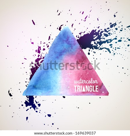 Abstract hand drawn watercolor background, vector illustration. Watercolors on wet paper. Watercolor triangle with ink splash for scrapbook elements. Blue and pink paints.